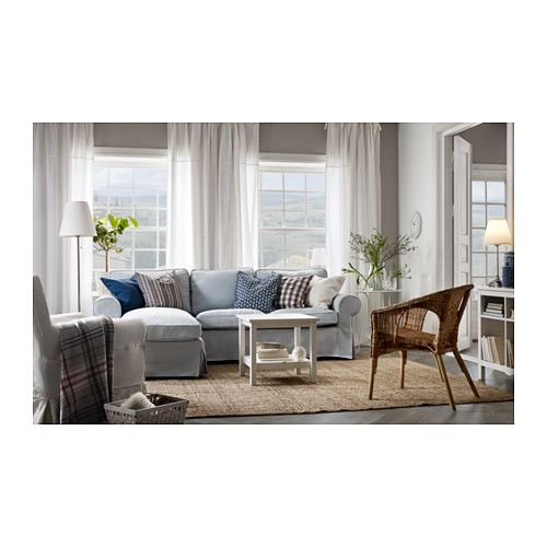 Ektorp Loveseat And Chaise Nordvalla Light Blue Ikea Furniture