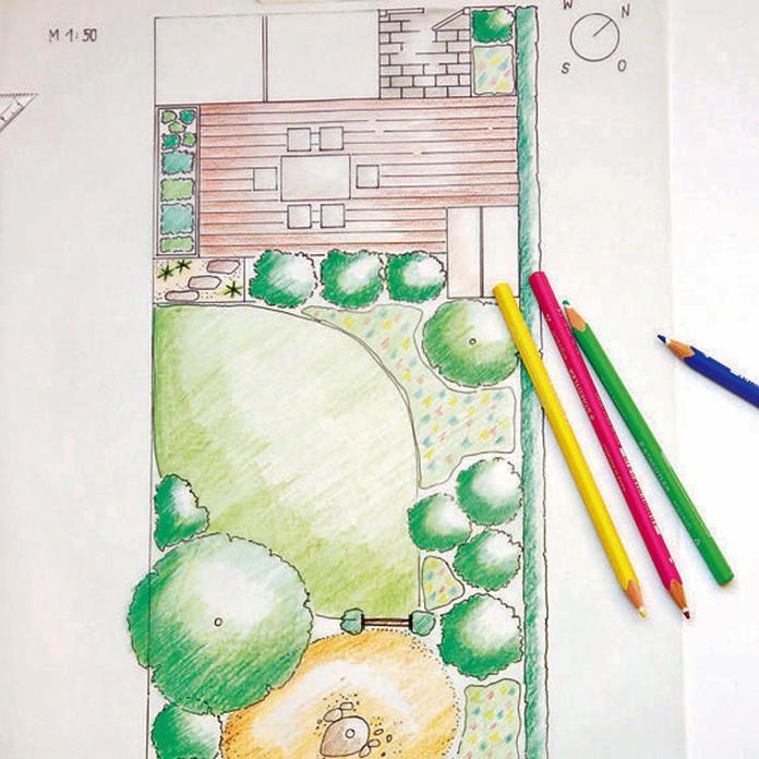 Fertig Gezeichneter Gartenplan Garten Grundriss Garten Planen Gartengestaltung