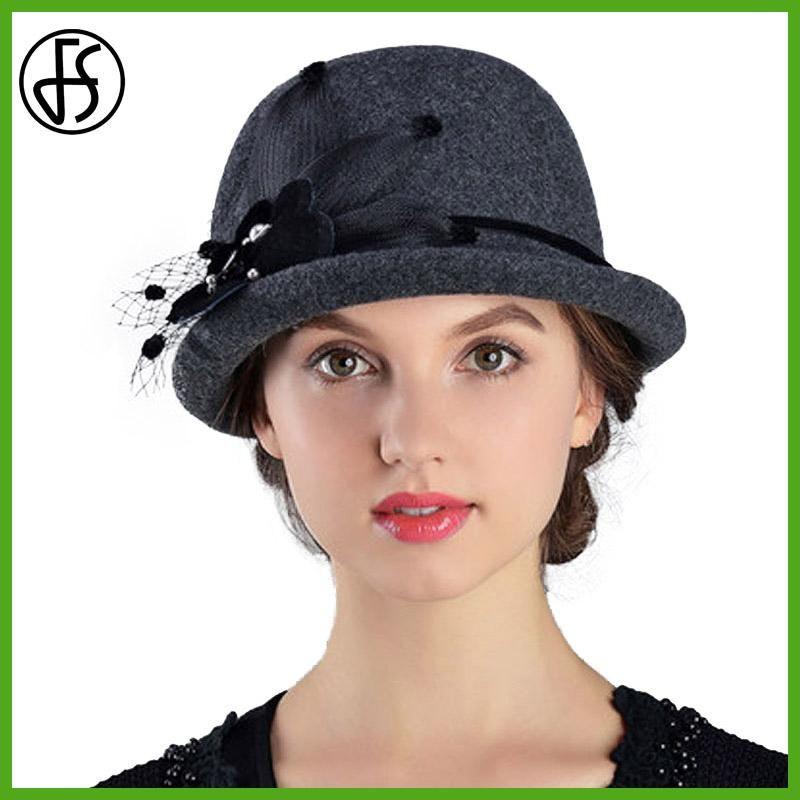 200f92fb85bb0 FS Female Short Brim Felt Cloche Hat Winter 100% Wool Fedoras Elegant Bow  Fedora Black Lady Church Hats Women Bowler Cap