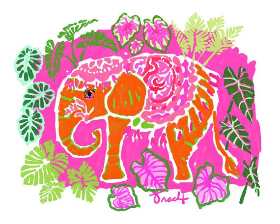 Pink Party Elephant Decorative Art Print Painting Reproduction by artist Kelly Tracht