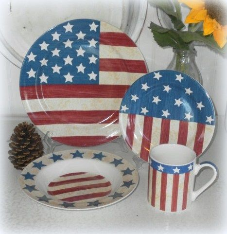 16 Piece Lillian Vernon Patriotic American Flag Americana Country Dinnerware Set / Dishes & 16 Piece Lillian Vernon Patriotic American Flag Americana Country ...