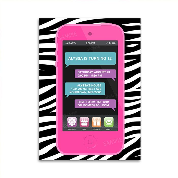 Cell Phone Invitation For Tween Teen Girl Birthday Party Ipod Or Iphone Digital Printable File 9 99 Via