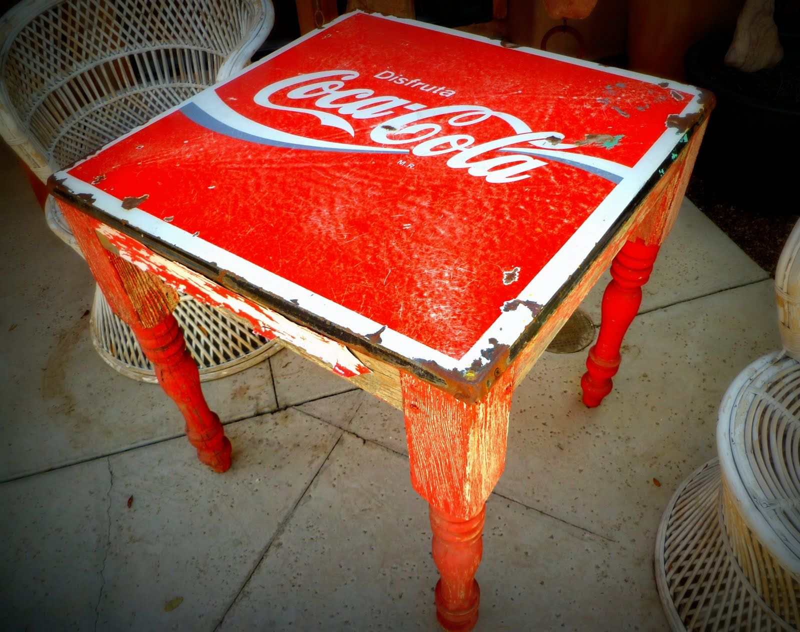 I love this old Mexican Coca Cola table It looks like a marriage