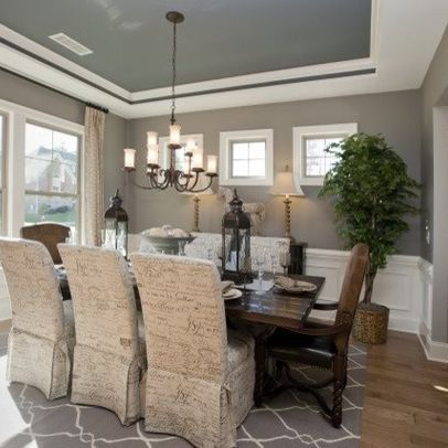 Dining Room Plan Blue Painted Tray Ceiling With Brown Walls Dining Room Style Grey Dining Room Dining Room Paint