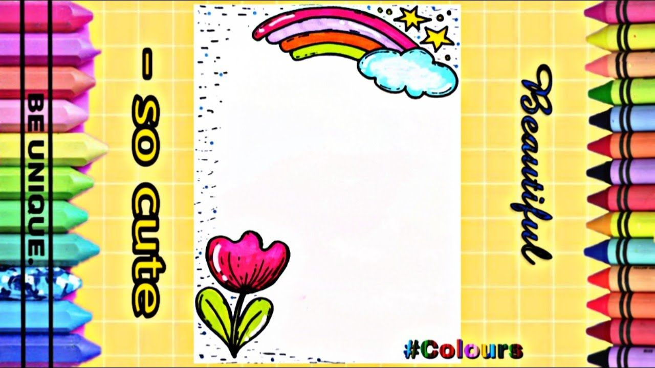 Drawing To Decorate Notebook The Rainbow تزيين دفاتر مدرسية من الداخ Cute Unique Notebook