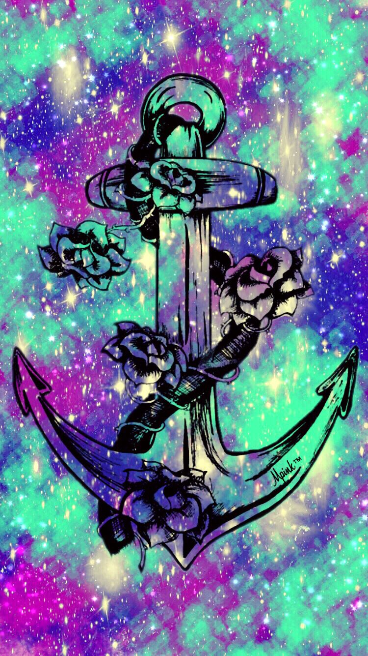 Flower Anchor Galaxy iPhone/Android Wallpaper I Created