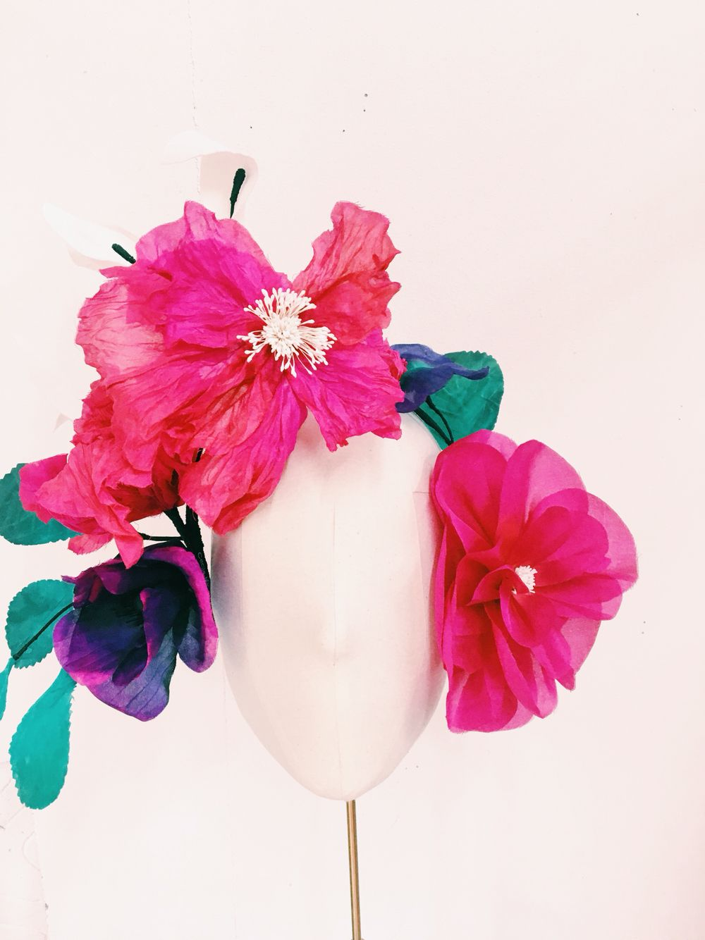 Cecile Millinery Headpiece Silk Flowers Are Hand Dyed And Hand Made