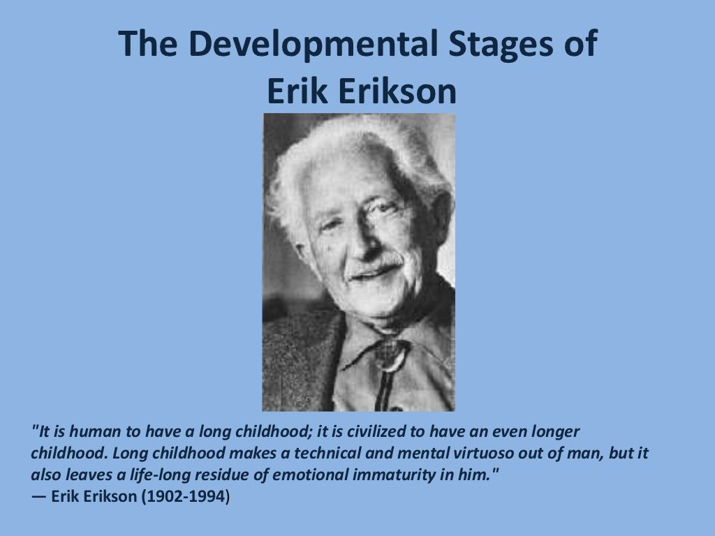erik erickson psychosocial development reaction paper Psychosocial stages of development erik erikson psychosocial psyco = psychological social about erik erikson write on the back of your paper student of sigmund freud first to recognize a erik erikson: psychosocial development erickson's psychosocial theory senior.
