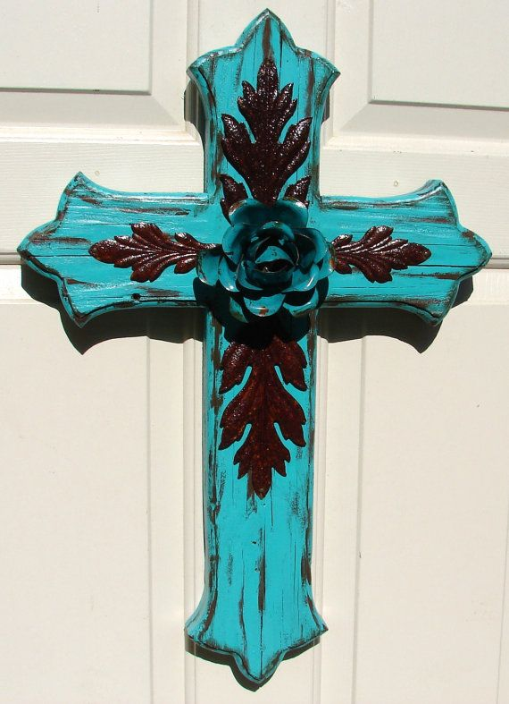 DC033F Large Turquoise Wood Cross with Rustic Turquoise Rose and Rustic Leaves via Etsy