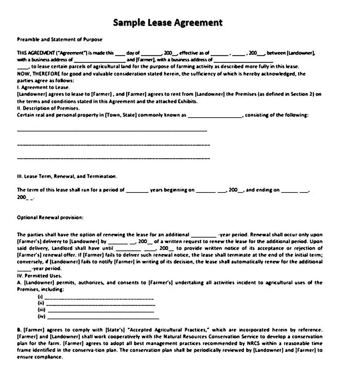 Sample Land Lease Agreement Lease Agreement Rental Agreement Templates Lease Simple land lease agreement template