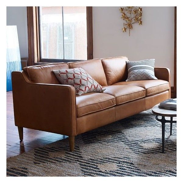 West Elm Hamilton Leather 3 Seater Sofa Sienna Sofas Loveseats 1 959 Liked On Polyvore Featuring Home Furniture Colored