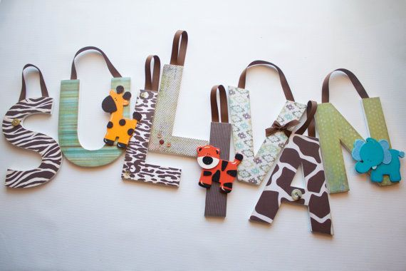 Jungle Theme Wooden Nursery Letters by Display Your Heart on