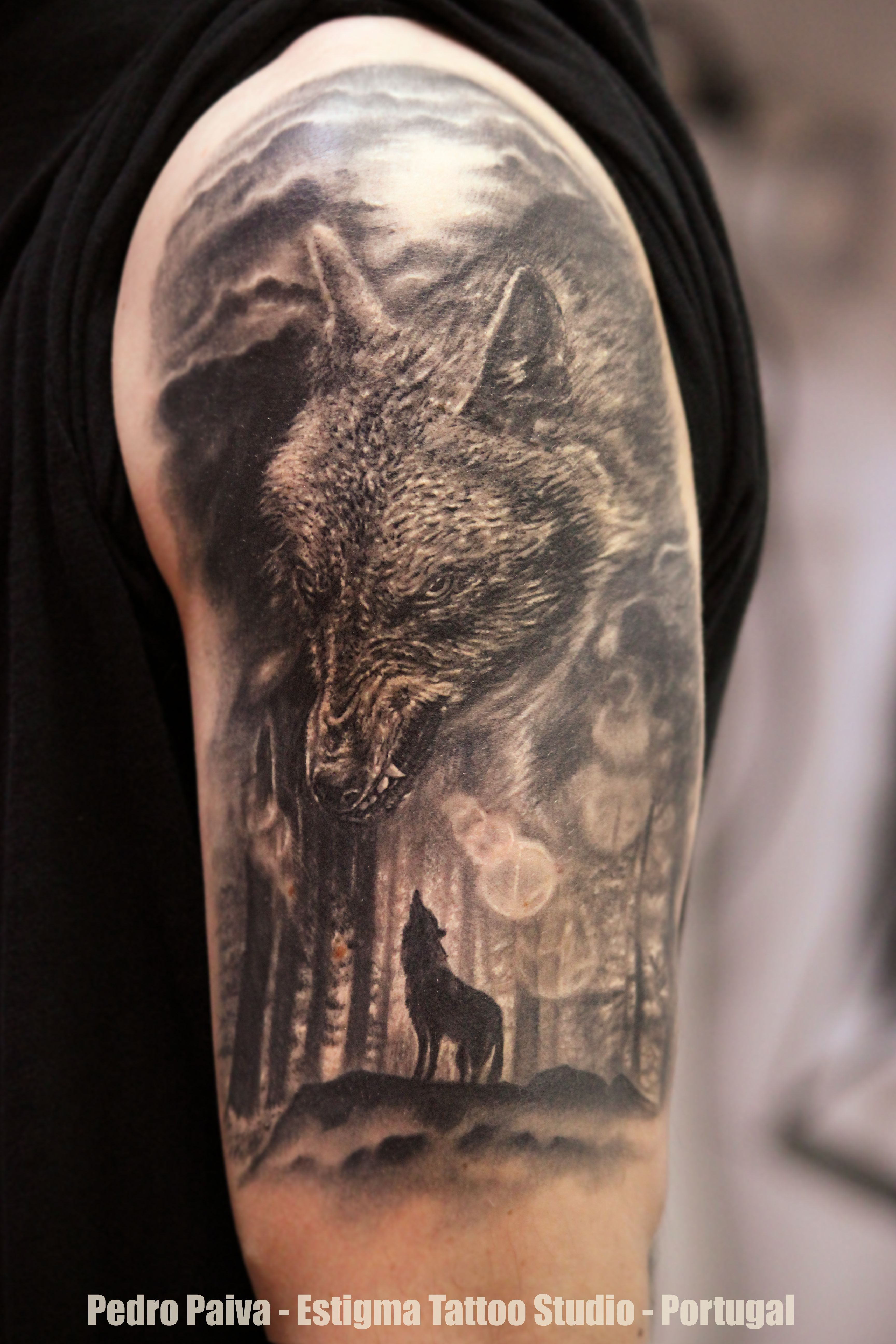 Pin By Chris Klein On My Saves In 2020 Forest Tattoos Leg Tattoos Wolf And Moon Tattoo
