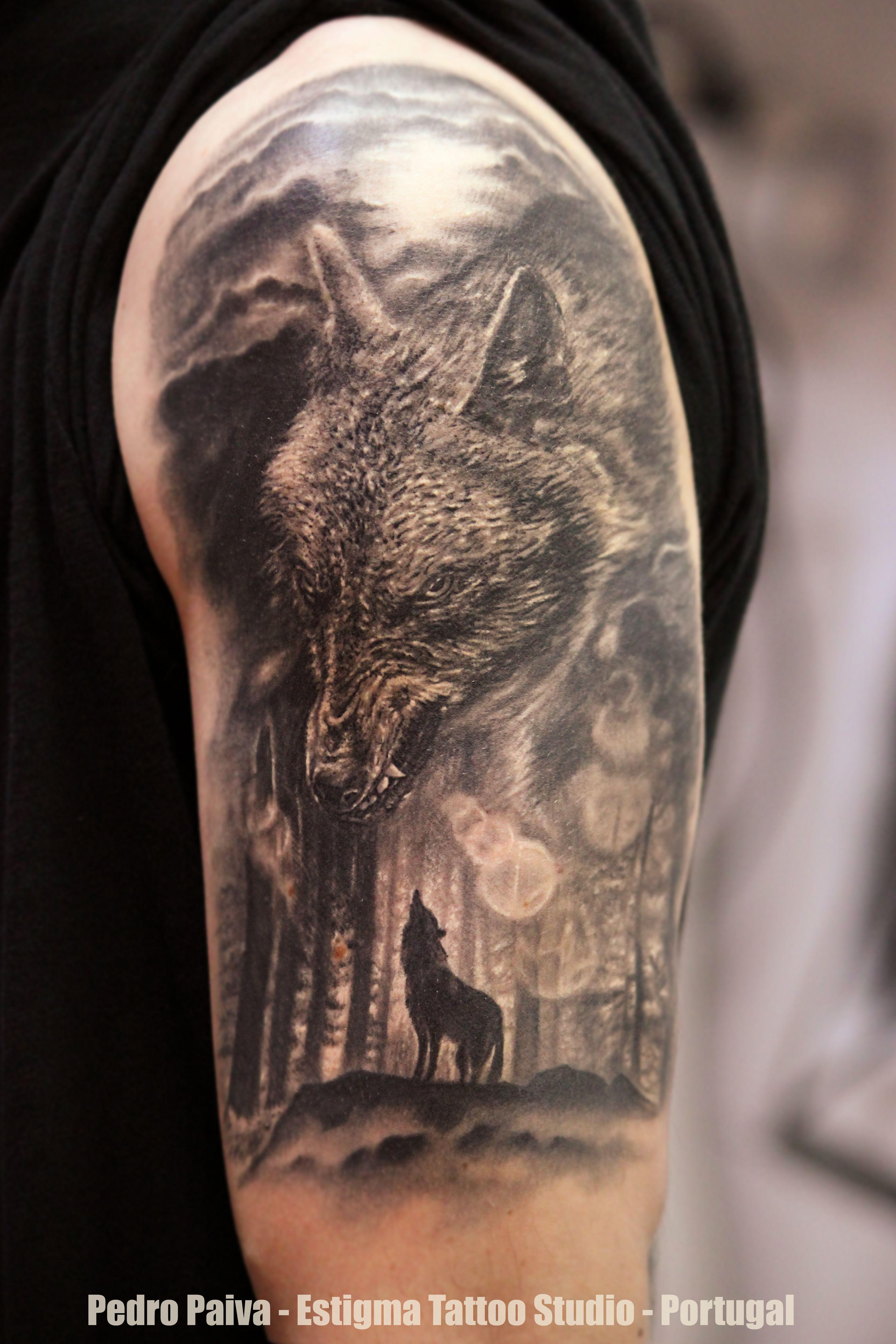 Forest Tattoo Leg Wolf tattoo forest moon | Tatuaże ...