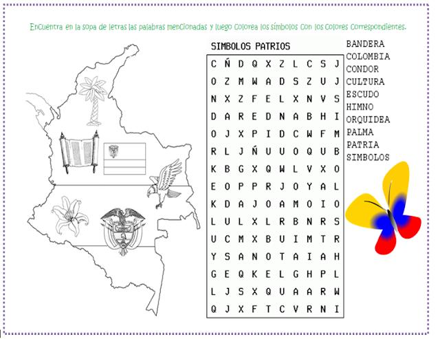 Resultado de imagen para SIMBOLOS PATRIOS PARA COLOREAR DE COLOMBIA ...