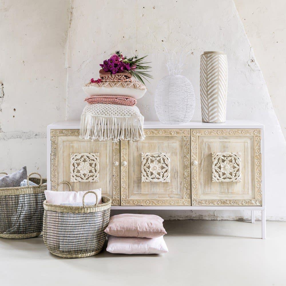 Maison Du Monde Copridivano.Aparador Con 3 Puertas De Metal Blanco Y Mango Esculpido