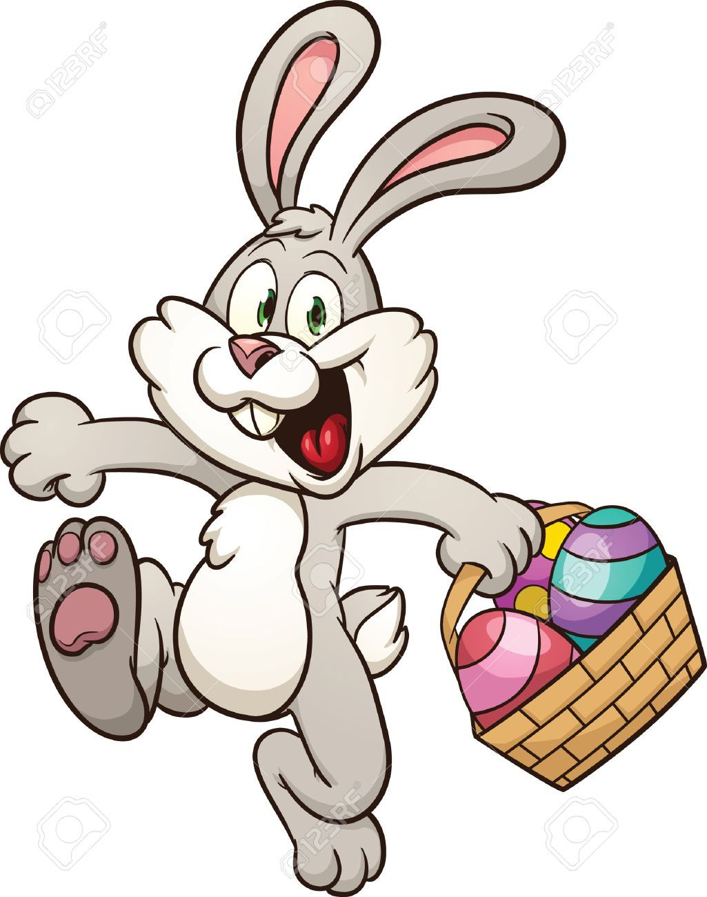 Cartoon Easter Bunny Jumping With Egg Basket Vector Clip Art Illustration With Simple Gradients All Easter Bunny Pictures Easter Bunny Cartoon Easter Cartoons