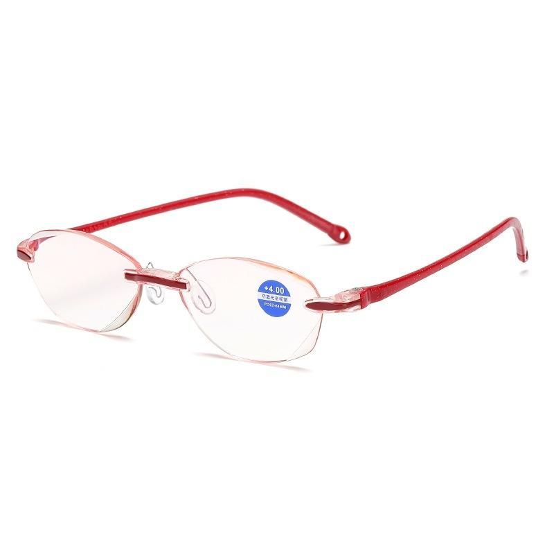 Read Glasses Diamond Trimming ?Glasses Anti Blue Light Frameless Glasses Read Glasses Degrees: 100-400 Product category: presbyopic glasses Style: comfort, retro Style: common for men and women Package: 1 pc