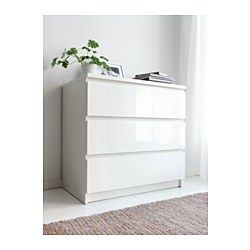 malm kommode mit 3 schubladen wei hochglanz 80x78 cm. Black Bedroom Furniture Sets. Home Design Ideas