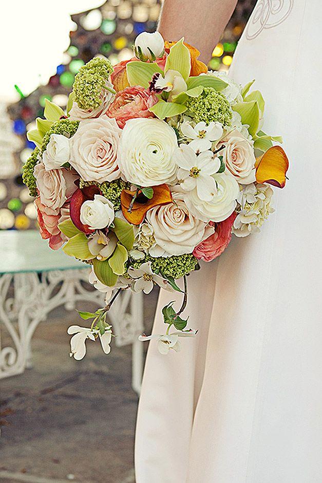 Spring sunset wedding, bridal bouquet, spring wedding, dogwood ...