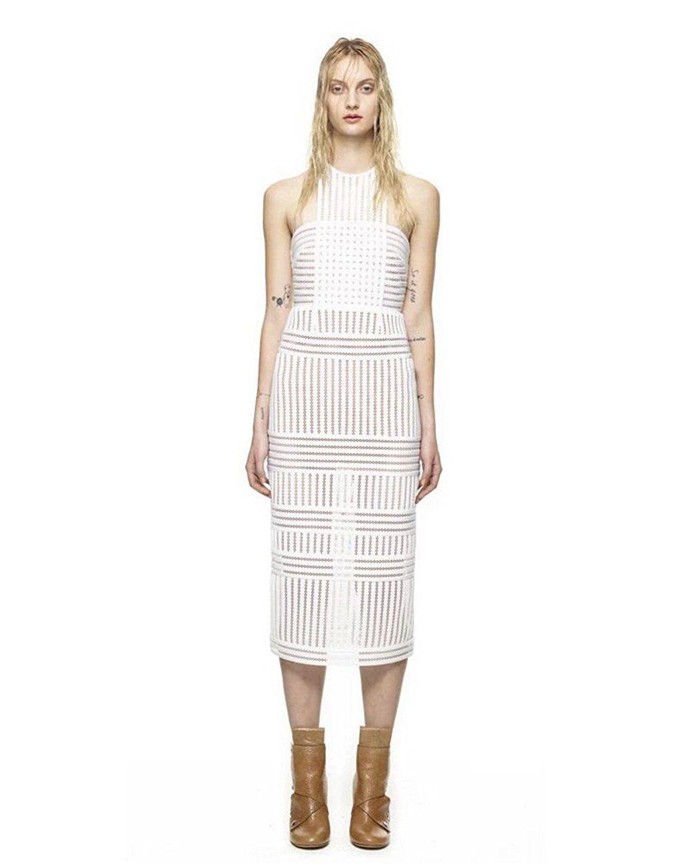 Fenghuavip halter slimline white midcalf long prom dresses you