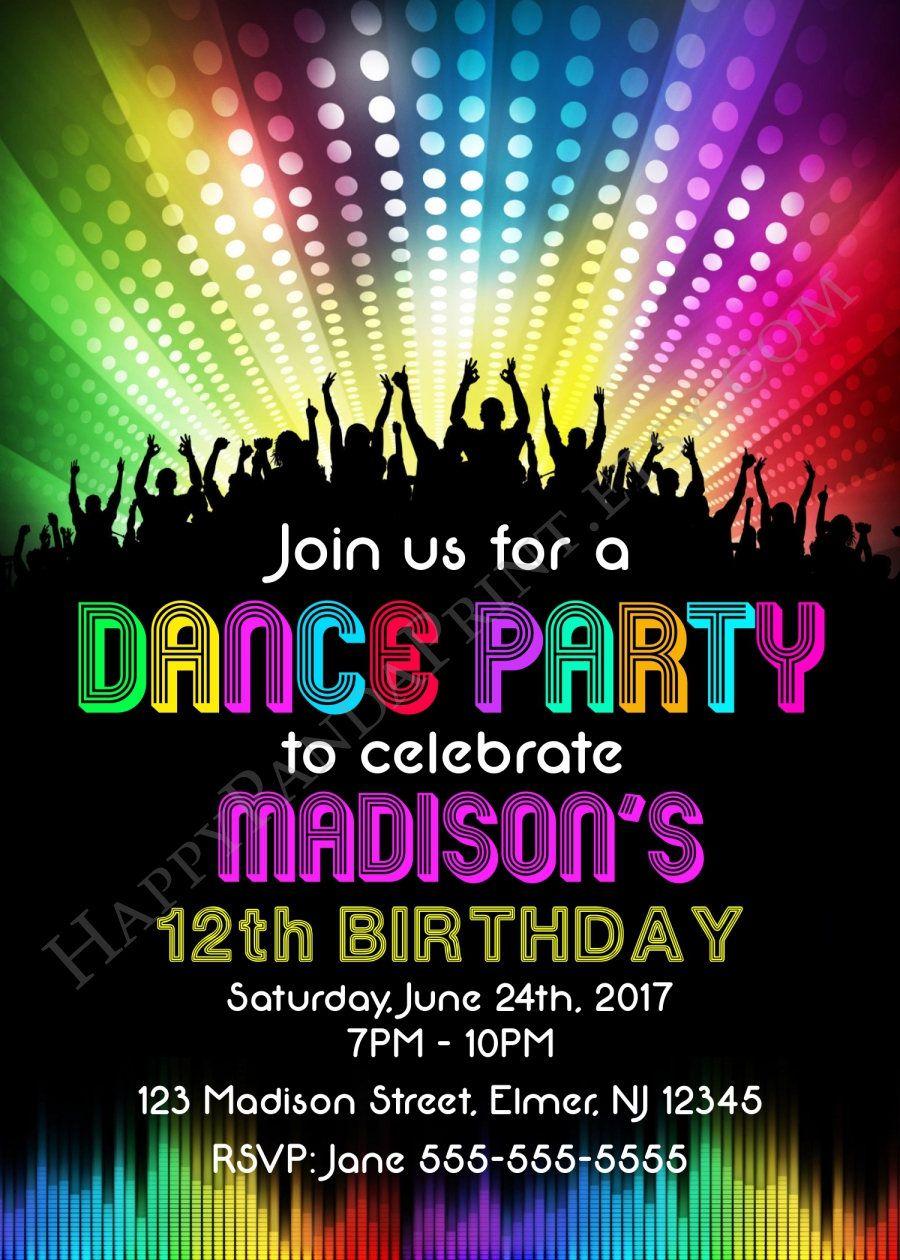 Dance Party Invitation Disco Party Invitation Disco Dance Birthday ...