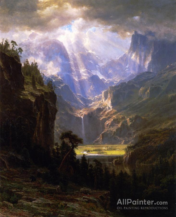 Albert Bierstadt: Albert Bierstadt Rock Mountains Oil Painting Reproductions.  We can offer Albert Bierst...