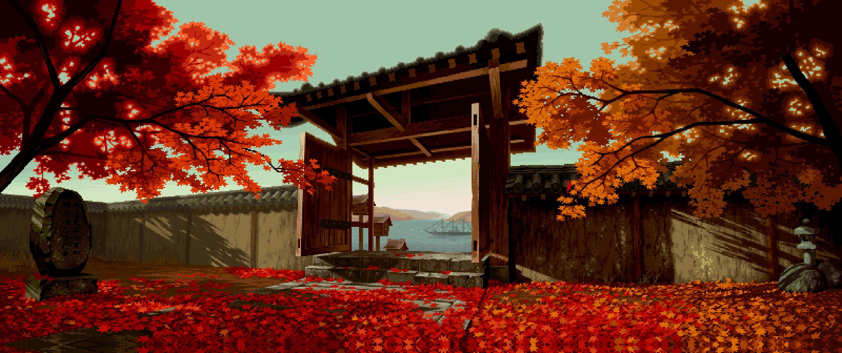 anime scenery fall wallpaper Pixel art, Anime sahnesi