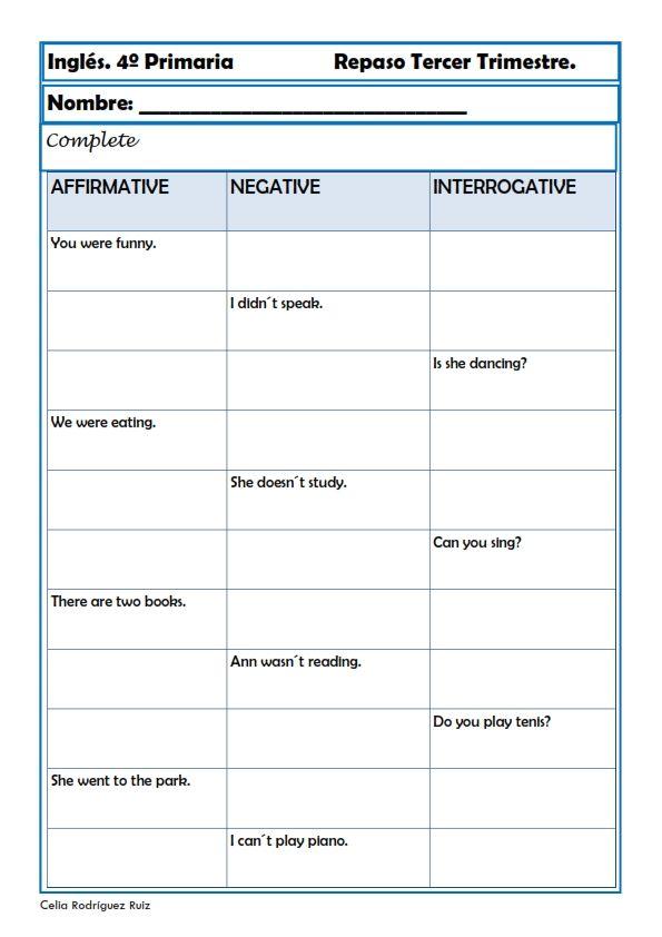 Fichas inglés cuarto primaria. Niños de 9-10 años | 4° grade booklet ...