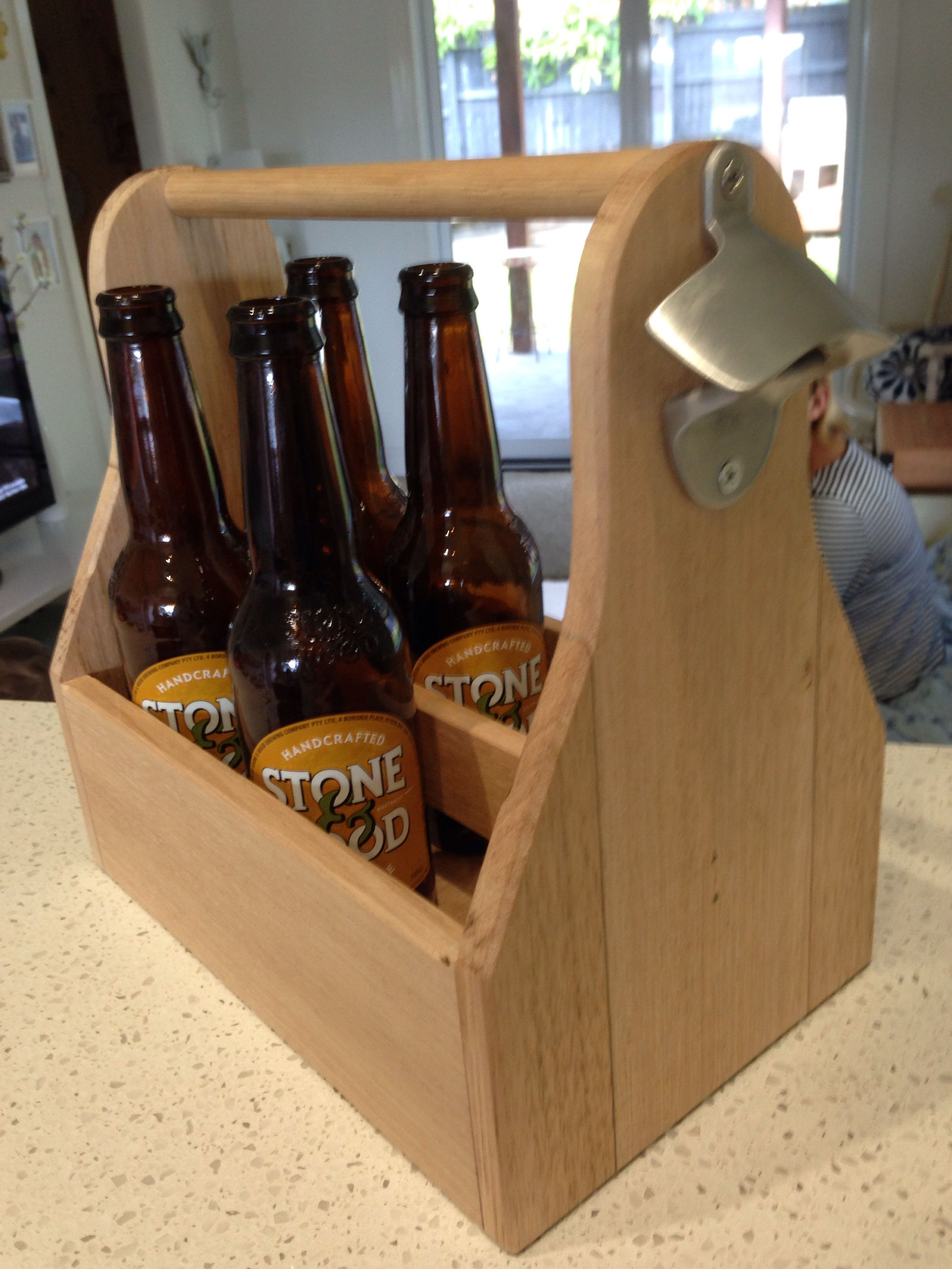 Hand made beer caddy with bottle opener 100% Australian made by me