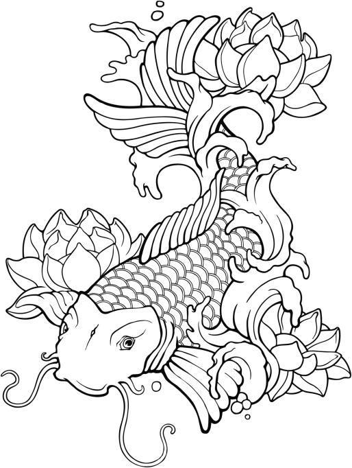 Plantillas para tatuajes del pez koi 04 | tattoo | Pinterest | Tattoo