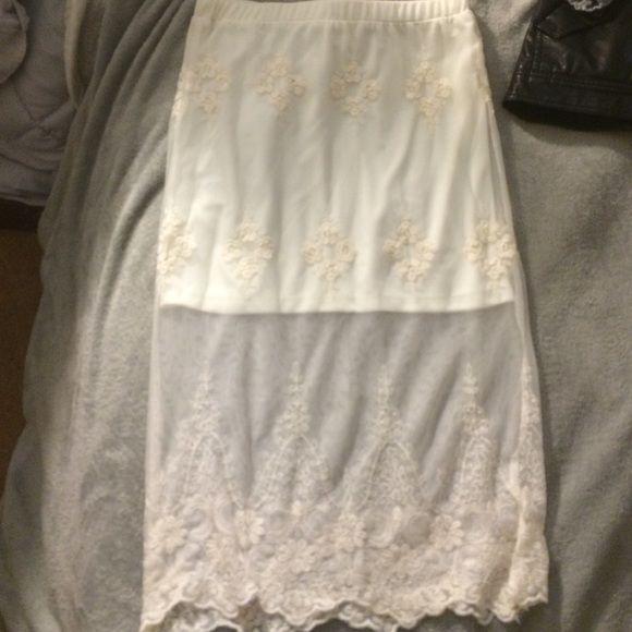 Sheer white skirt Cream midi skirt, with mini skirt insert, with sheer lace detailing Pins & Needles Skirts Midi
