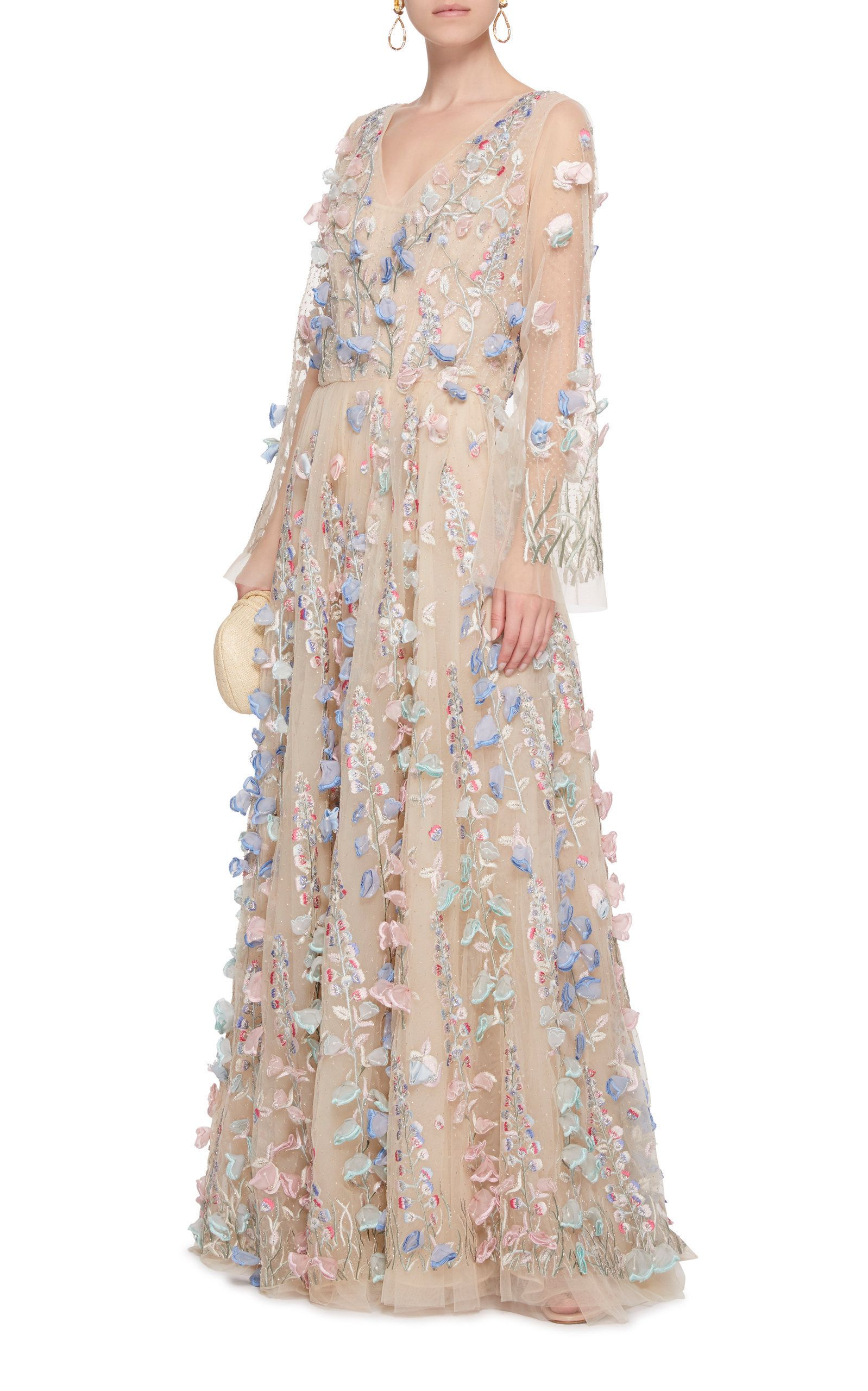 1d6a4767ee110 Click Product to Zoom Luisa Beccaria Embroidered Floral And  Pearl-Embellished Silk-Tulle Gown