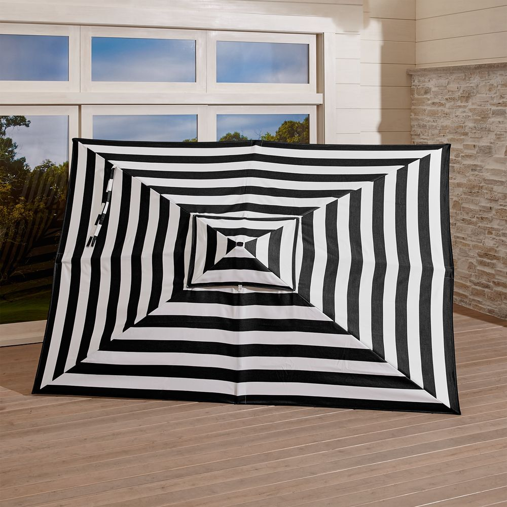 Rectangular Sunbrella Cabana Stripe Black Umbrella Canopy