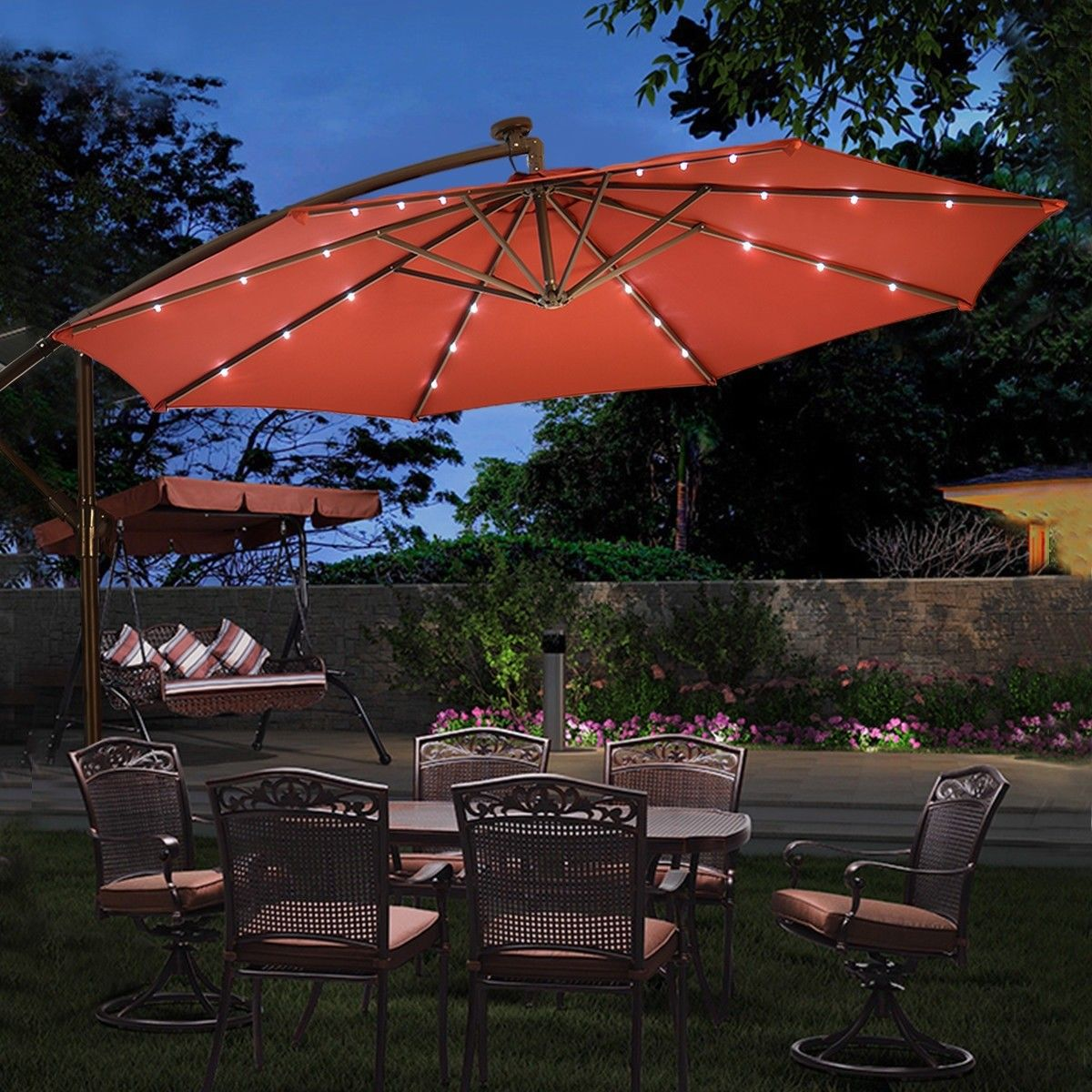 10 Patio Hanging Umbrella Sun Shade With Solar Led Lights Patio Sun Shades Patio Shade Outdoor Backyard