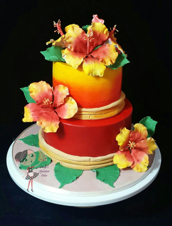 Hawaiian themed 21st birthday cake cake by cheryls