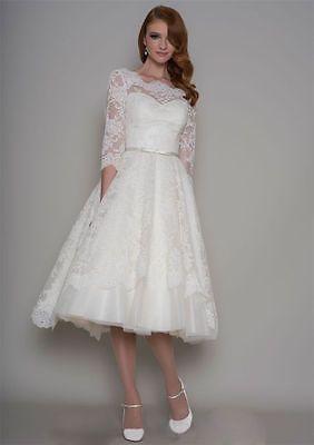 42028451faf white ivory 3 4 Sleeve Vintage Lace Tea length Bridal Gown Wedding Dress  Custom