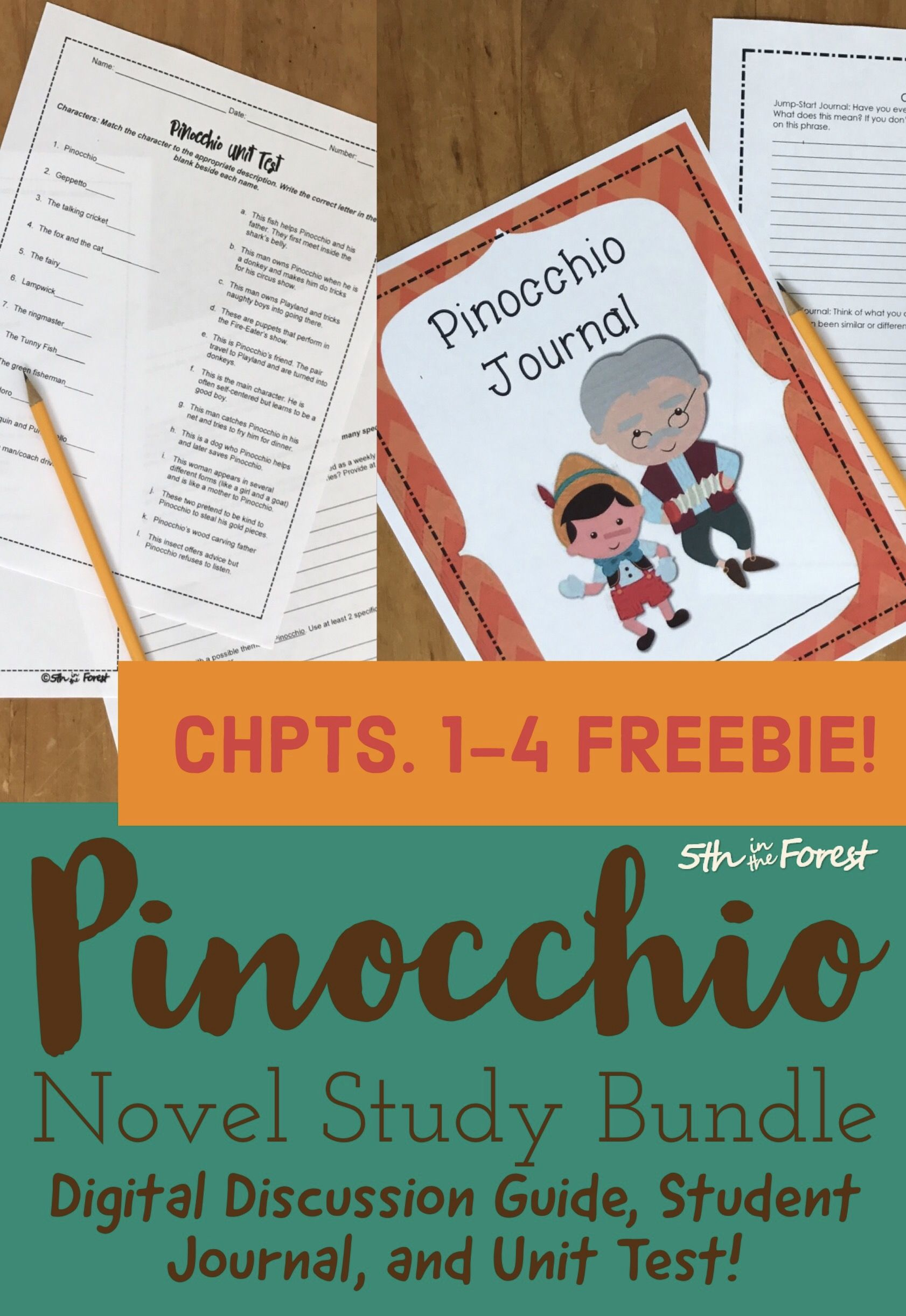 This download is a FREE SAMPLE of my Pinocchio Novel Study Unit. You will  receive