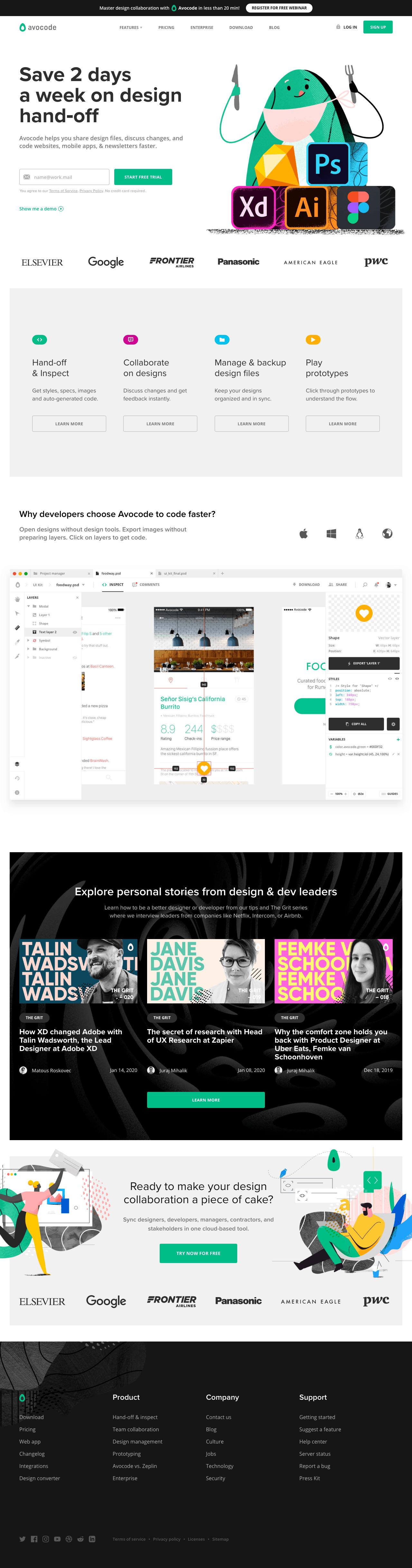 Avocode Landing Page In 2020 Landing Page Landing Page Inspiration Web Design