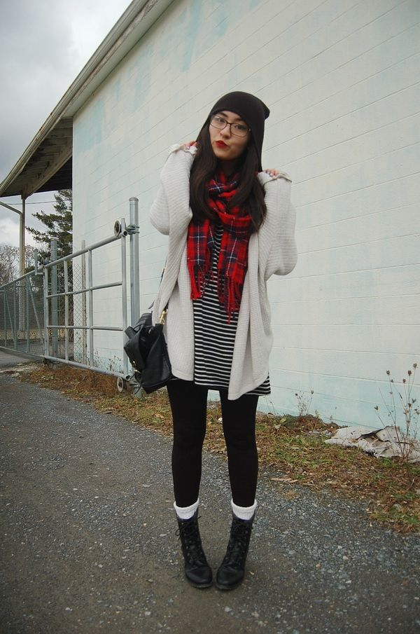 Shop this look on Lookastic:  http://lookastic.com/women/looks/beanie-scarf-casual-dress-leggings-socks-boots-satchel-bag-open-cardigan/8031  — Black Beanie  — Red Plaid Scarf  — Black and White Horizontal Striped Casual Dress  — Black Leggings  — White Socks  — Black Leather Boots  — Black Leather Satchel Bag  — White Knit Open Cardigan