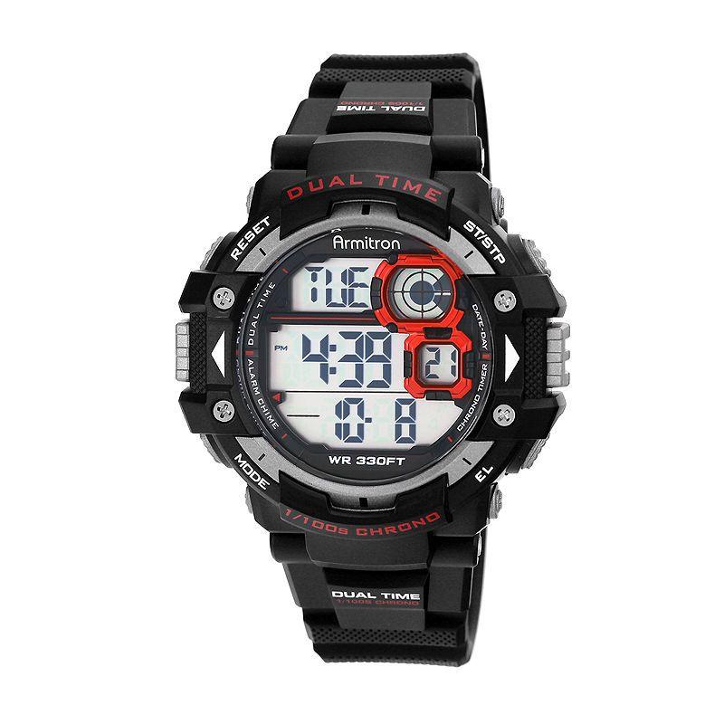 Armitron Mens Pro Sport Black And Red Chrono Digital Strap