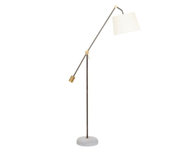 Our bruges floor lamp is one big piece of lovely its stem is handmade from steel and it comes with an elegant linen lampshade