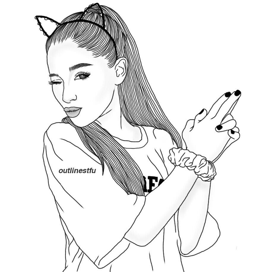Ариана Гранде | Coloring pages | Tumblr outline drawings ...