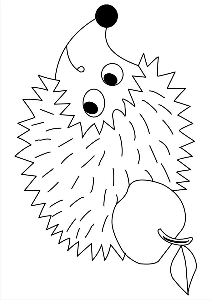 Hedgehog Idea To Go With Book Apple Trouble Fall Coloring Pages Fall Arts And Crafts Art Lesson Plans
