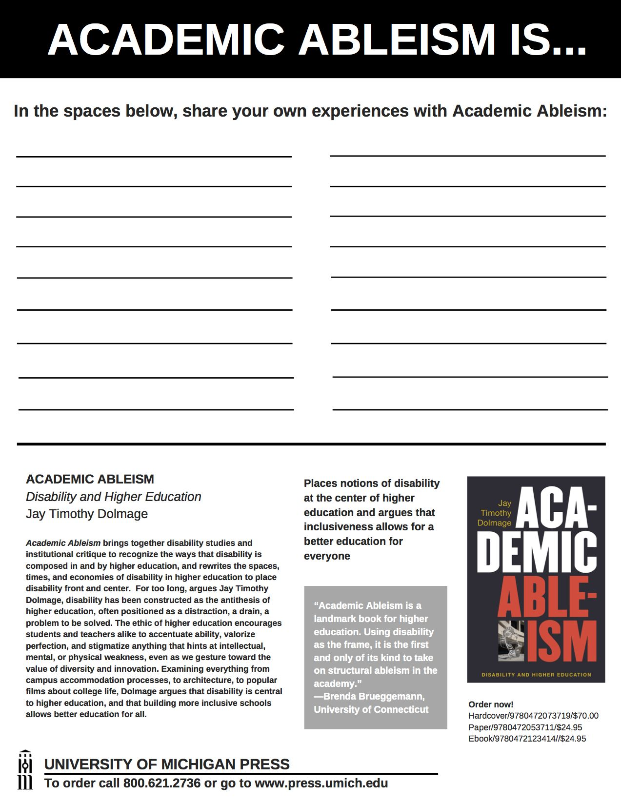 Academic Ableism Worksheet