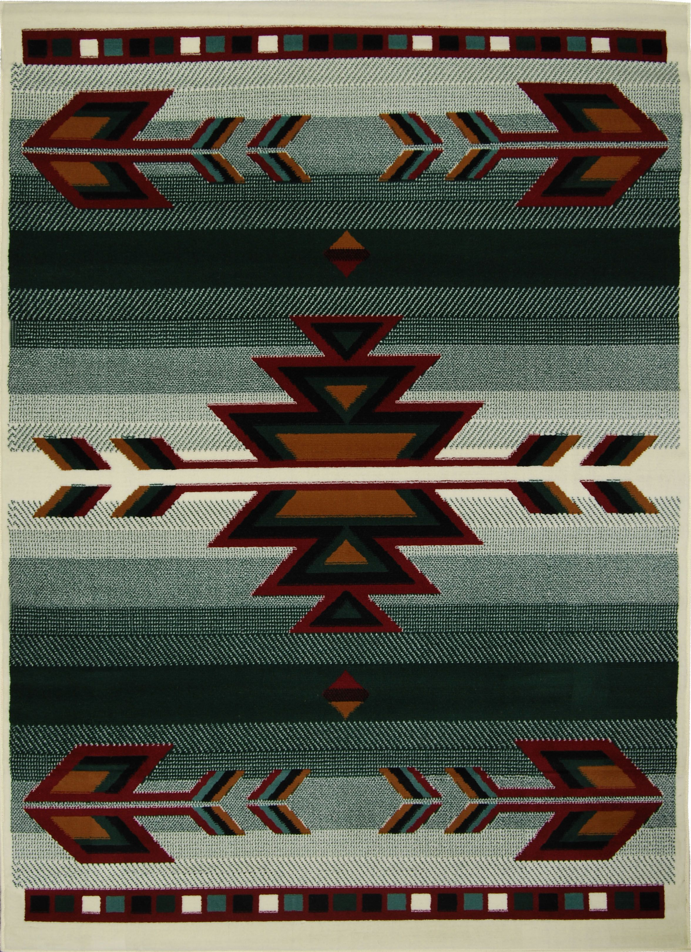 Rustic oriental southwestern green area rug persian arrows
