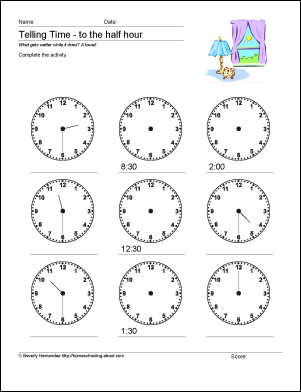 10 worksheets to help your child tell time by half hour telling time worksheets and math. Black Bedroom Furniture Sets. Home Design Ideas