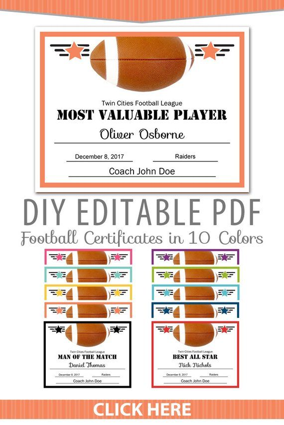 Editable Pdf Sports Team Football Certificate Award Template In 10