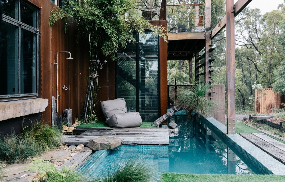 The Sunny And Bright Home Of A Doula And Her Family  is part of Outdoor, Backyard, Architecture, House design, Backyard pool, Future house - A leafy residence in outer Melbourne designed by Alistair Knox is the cherished residence of Sunni Hart, partner Pete Baxter and their two kids