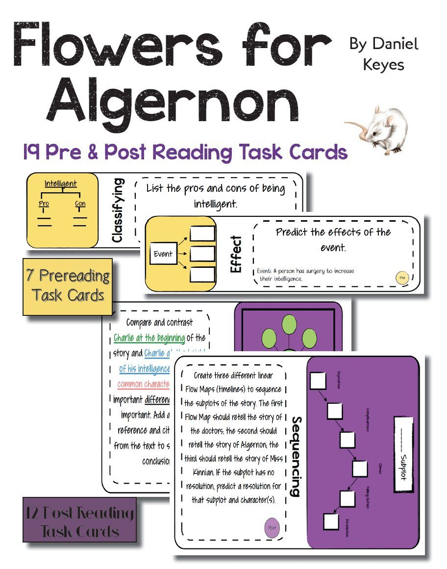 19 task cards. Use the intriguing short story, \u201cFlowers for